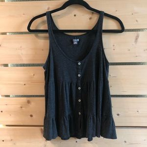 Dark Grey Ruffle Button Front Aerie Tank Top